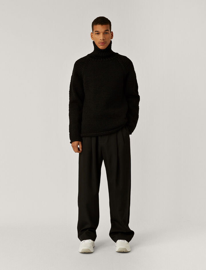 Joseph, Air Tube Roll Neck Jumper, in BLACK