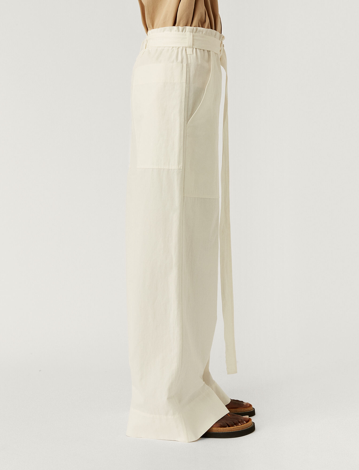 Joseph, Cotton Linen Taika Trousers, in OFF WHITE