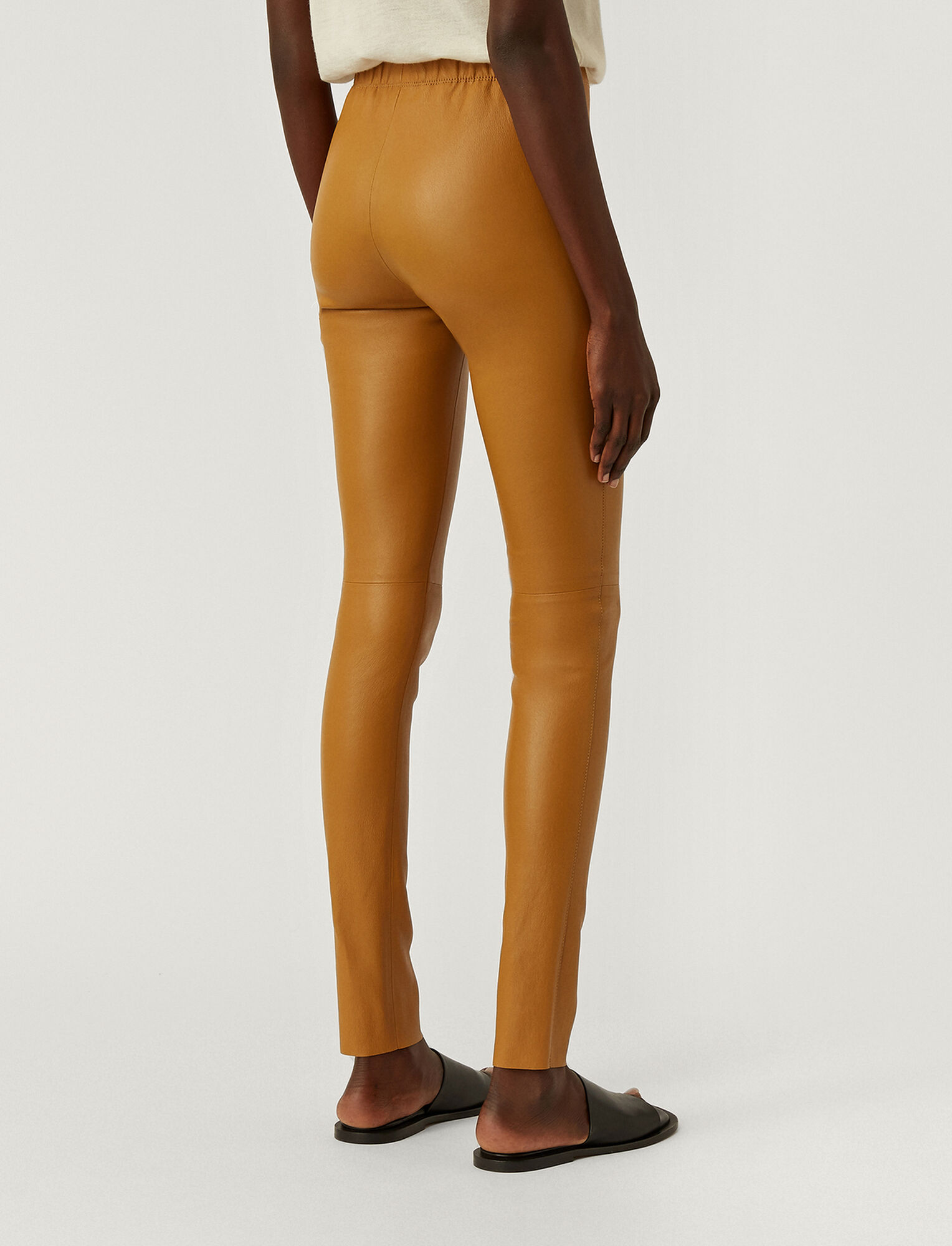 Joseph, Leather Stretch Leggings, in OAK
