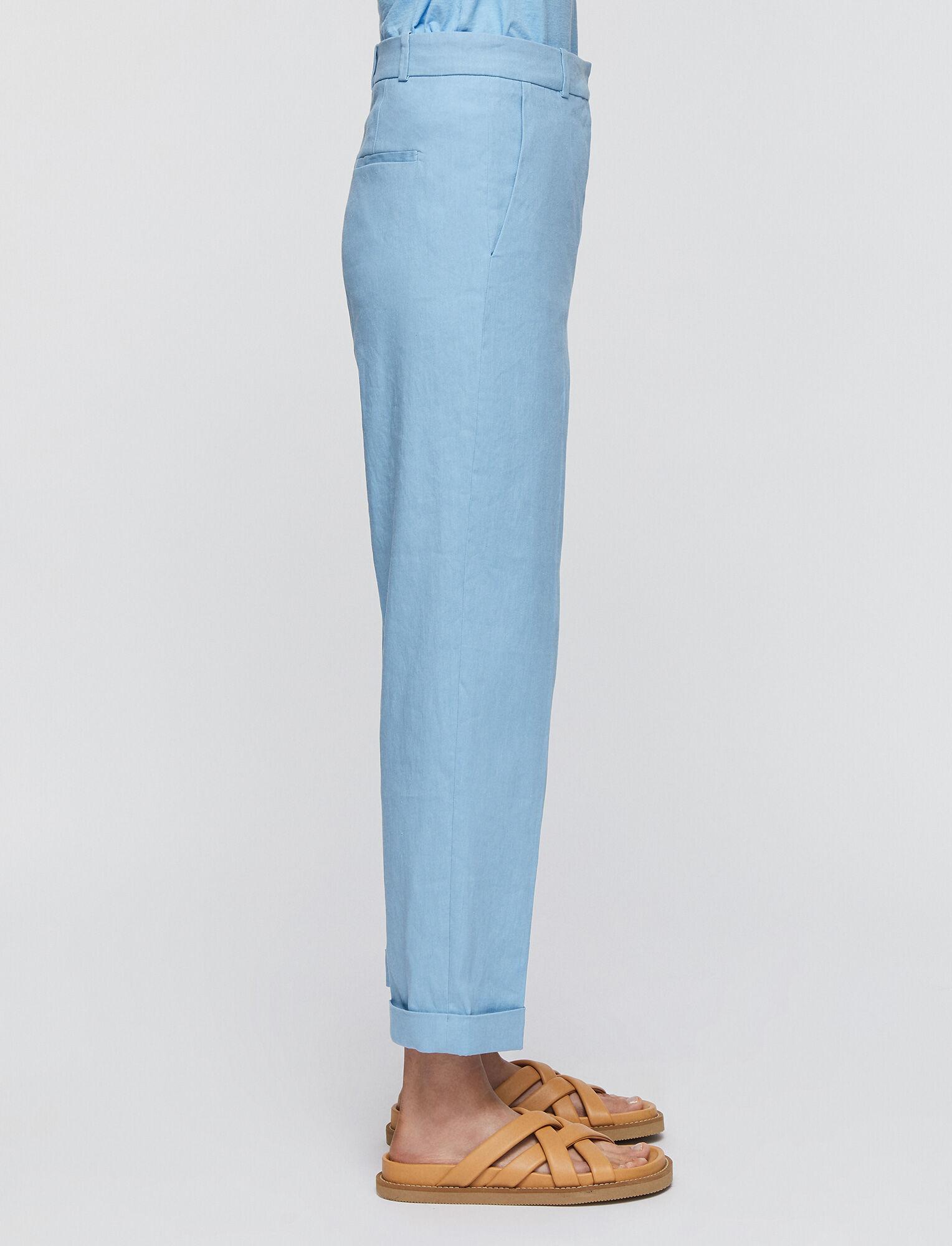 Joseph, Stretch Linen Cotton Trina Trousers, in CERULEAN