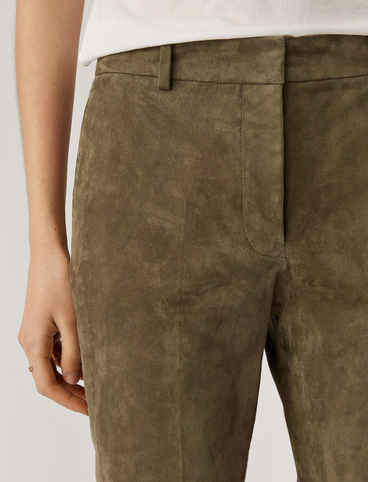 Joseph, Pantalon Coleman en cuir suédé stretch, in OLIVE