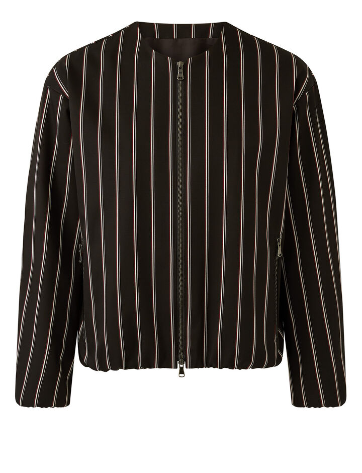 Joseph, Viscose Wool Stripe Jacket Jackets, in Black