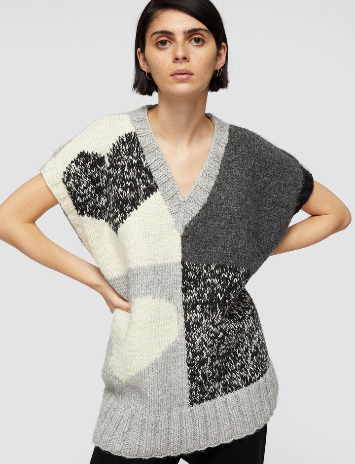 Joseph, Vest-Waste Yarn Project, in Grey Combo