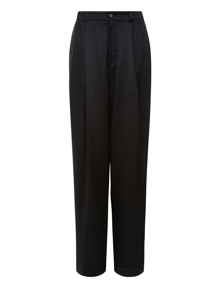 Joseph, Riska Silk Satin Trousers, in BLACK