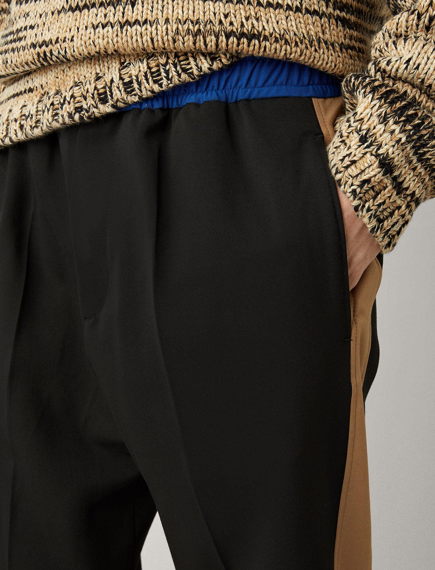 Joseph, Eza Techno Wool Stretch Tricolours Trousers, in BLACK COMBO