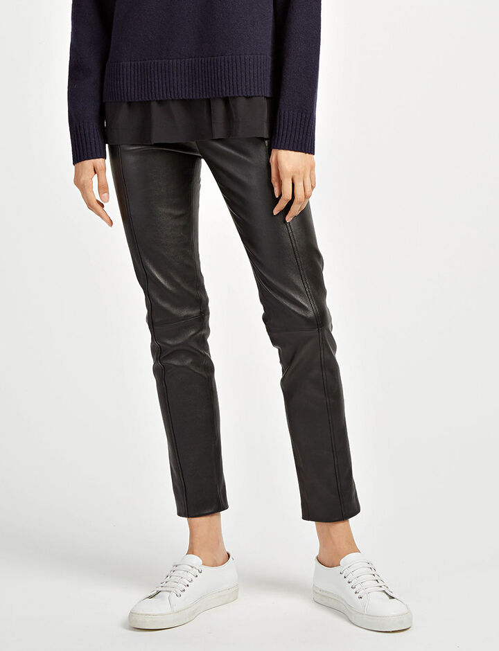 Joseph, Leather Stretch Lenny Trousers, in BLACK
