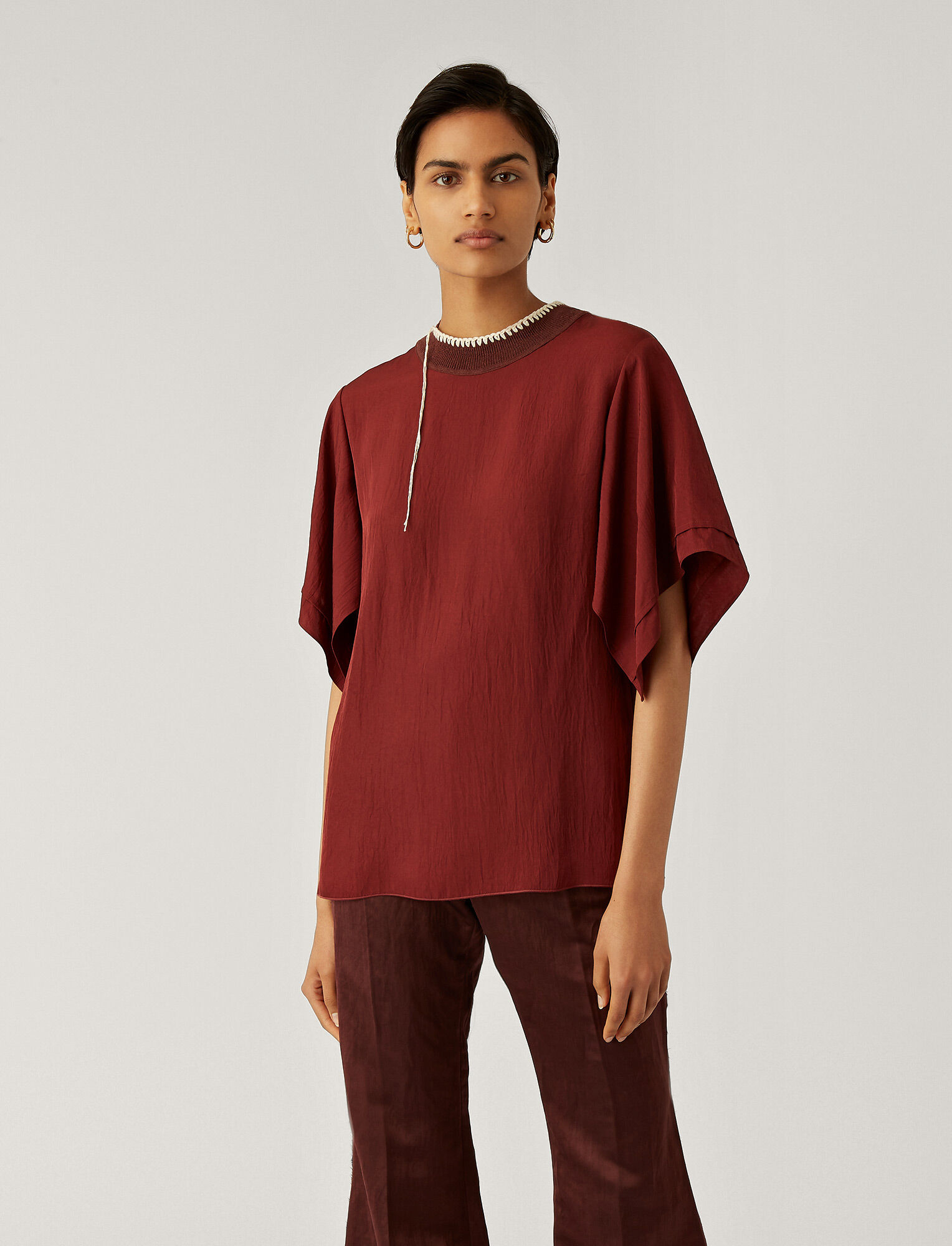 Joseph, Baila Washed Twill Blouse, in MERLOT