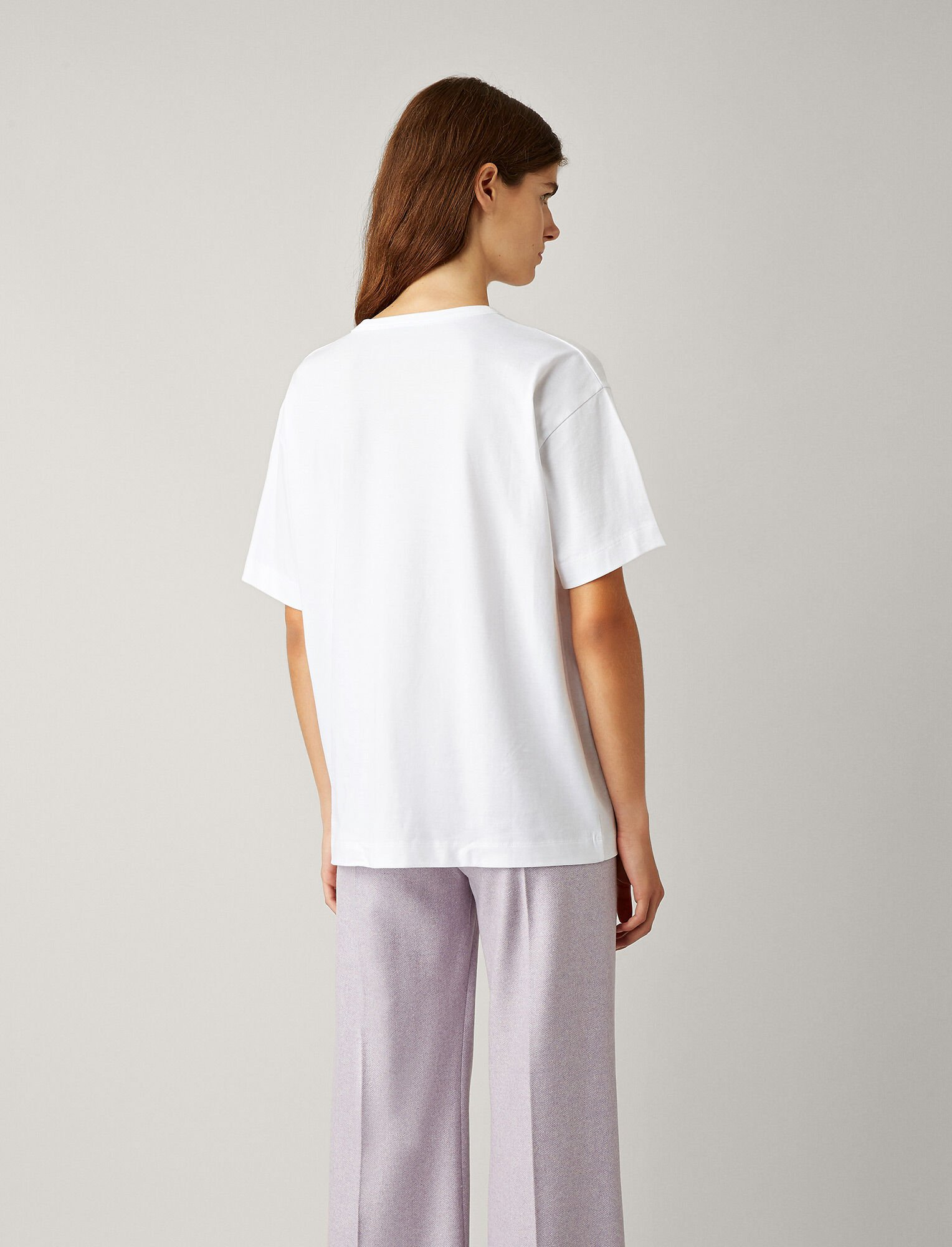Joseph, V Neck Perfect Jersey Tee, in WHITE
