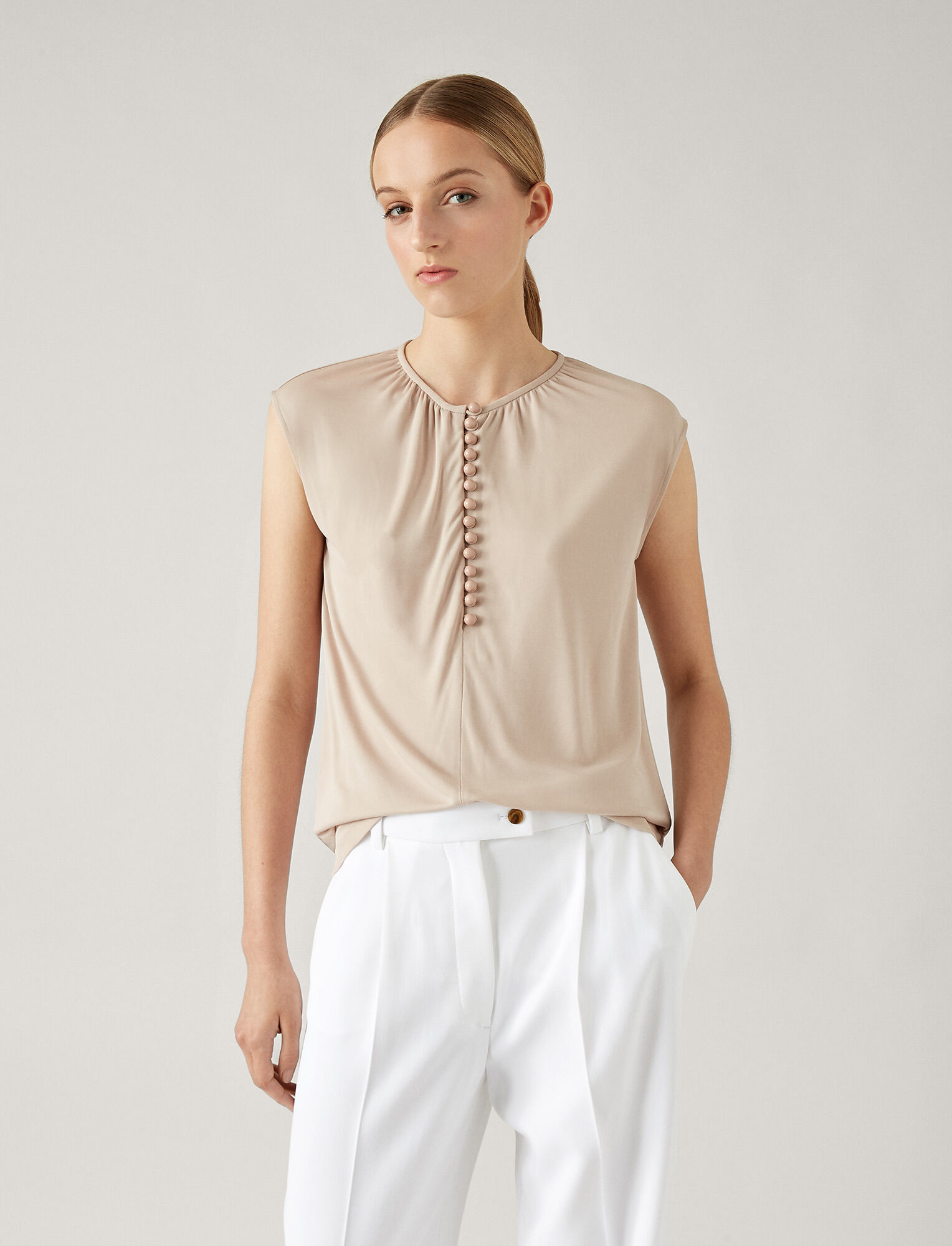 Joseph, Button Top Crepe Jersey, in OYSTER