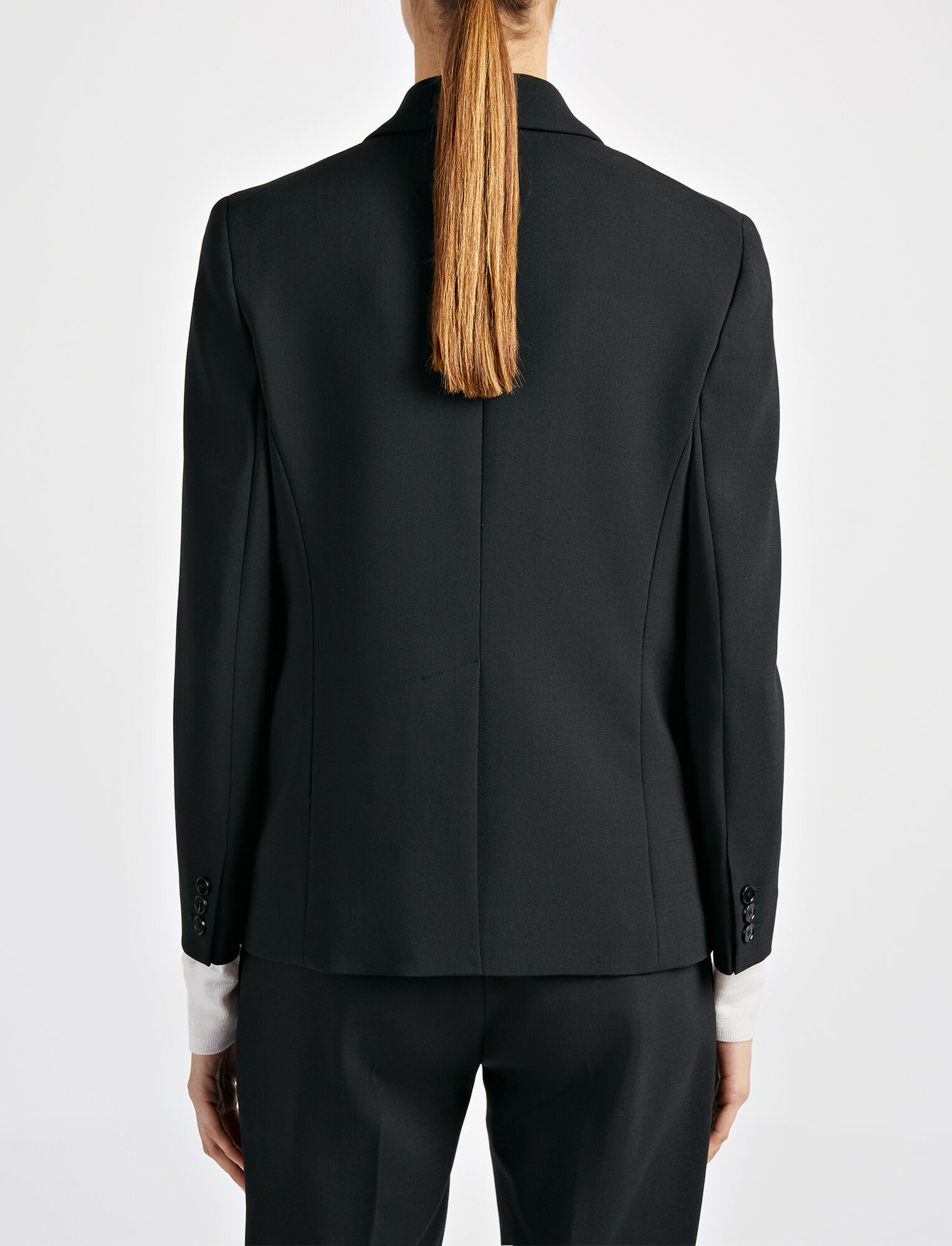 Joseph, Veste Savoy en laine stretch, in BLACK