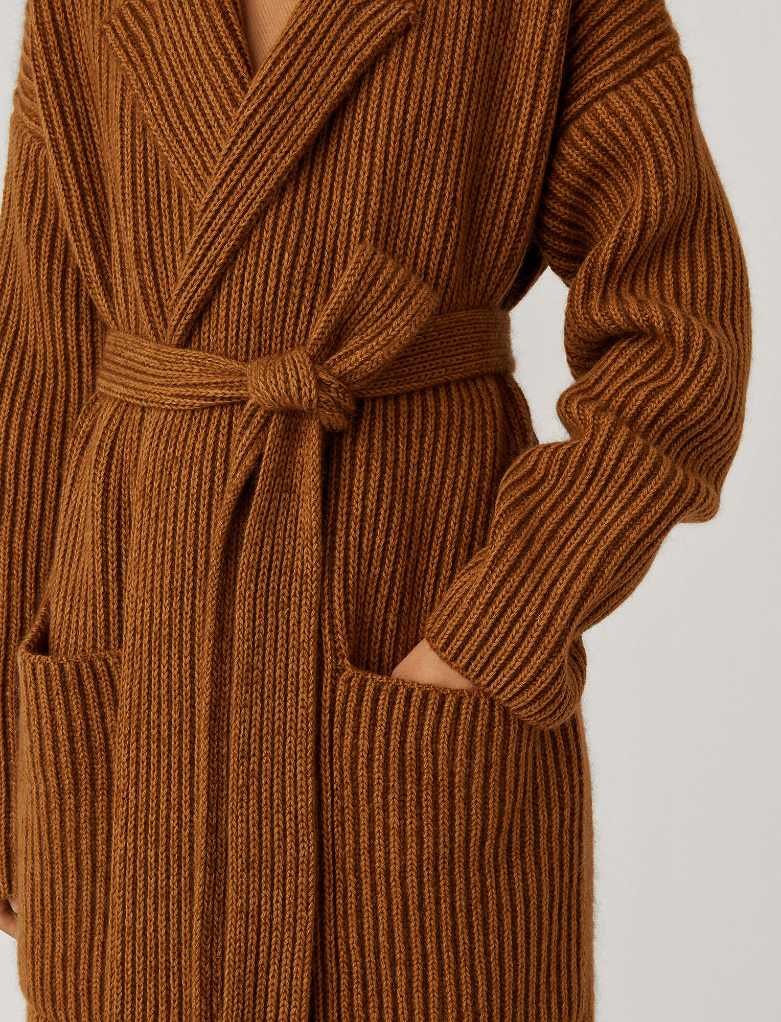 Joseph, Coat Cote Anglaise Novelty Knit, in Camel