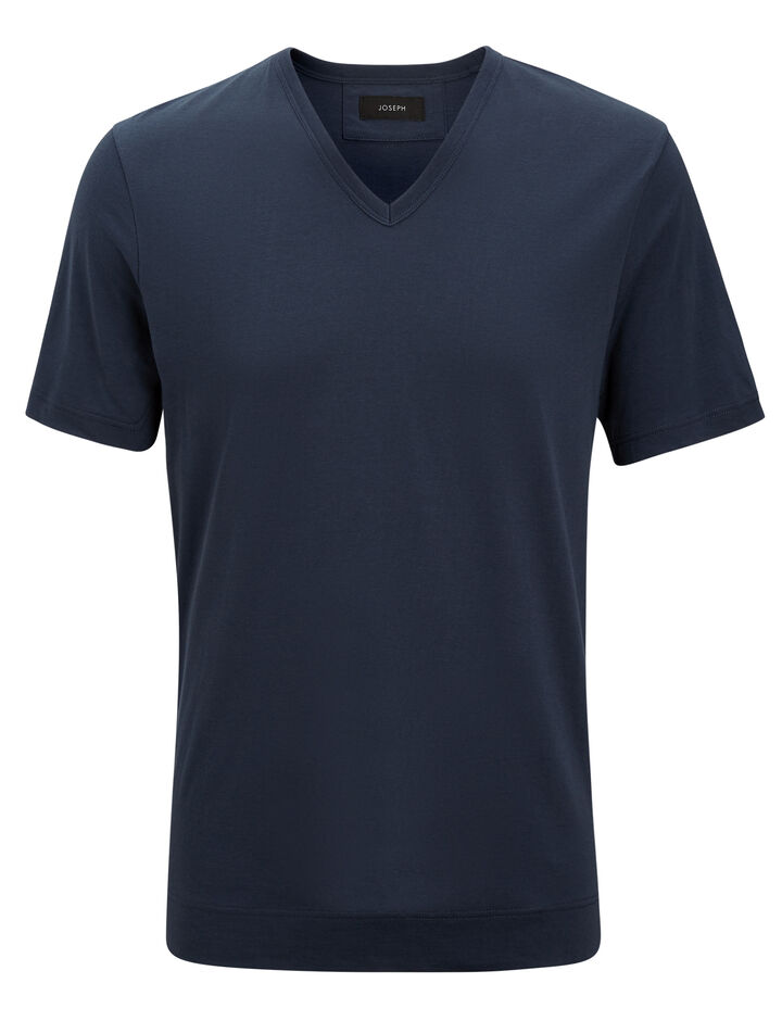 Joseph, V Neck Mercerized Jersey Tee, in AIR FORCE