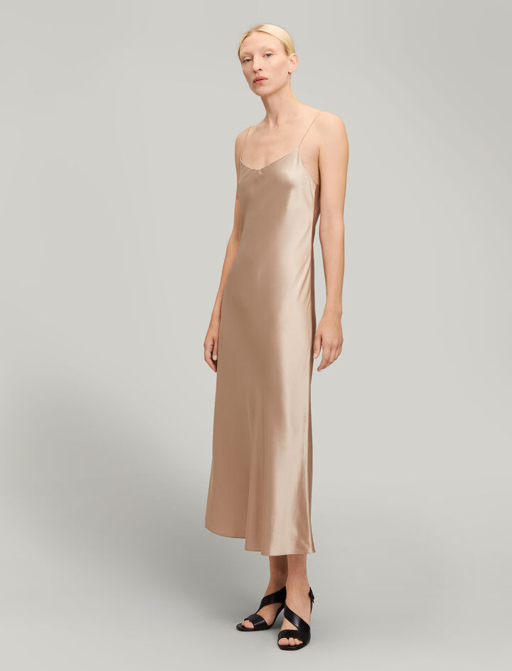 Joseph, Stone Silk Satin Dress, in COFFEE