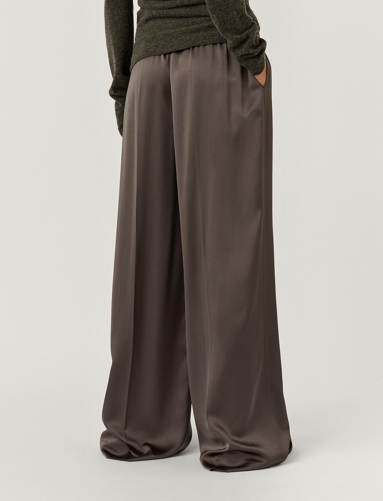 Joseph, Silk Satin Taffy Trousers, in ANTHRACITE