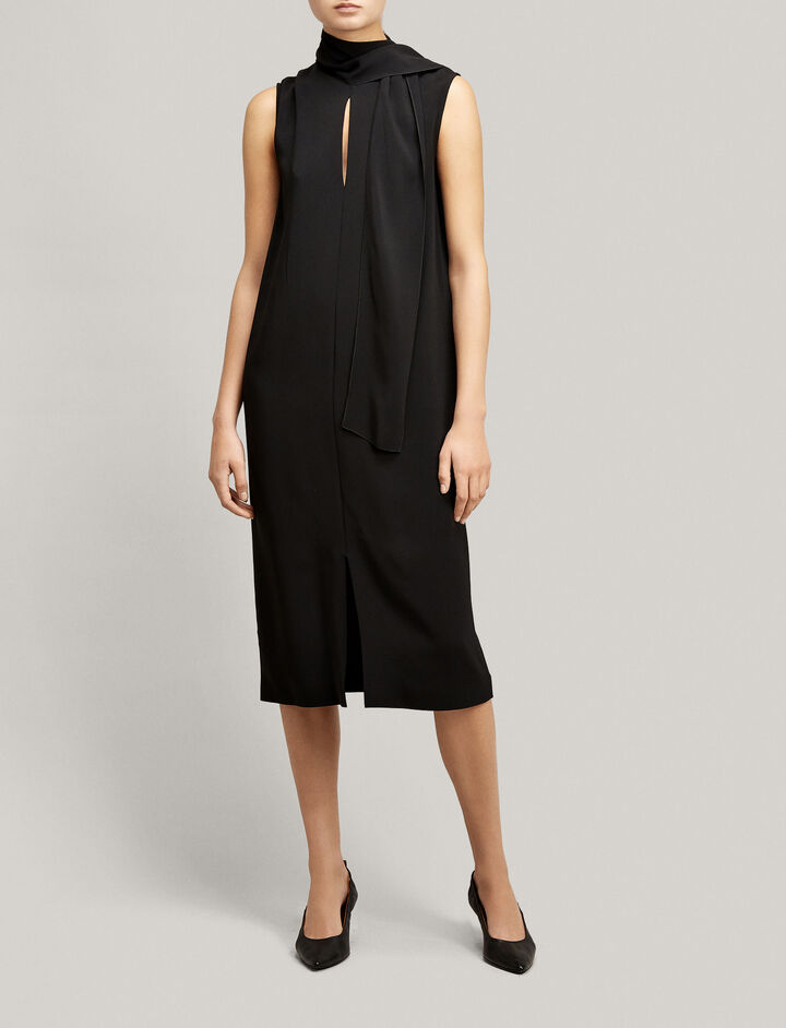 Joseph, Viscose Cady Noon Dress, in BLACK