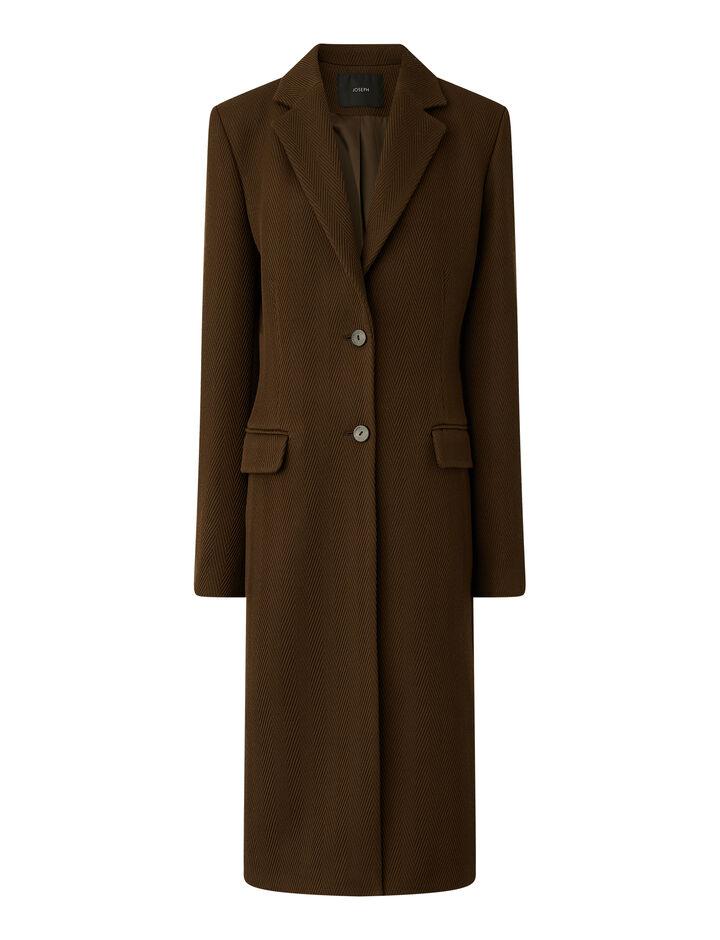 Joseph, Herringbone Wool Cale Coat, in PINECONE
