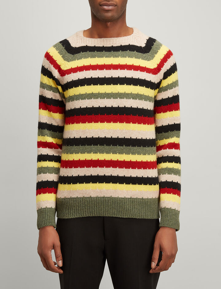 Joseph, Multicolour Stripe Intarsia Sweater, in MULTICOLOUR