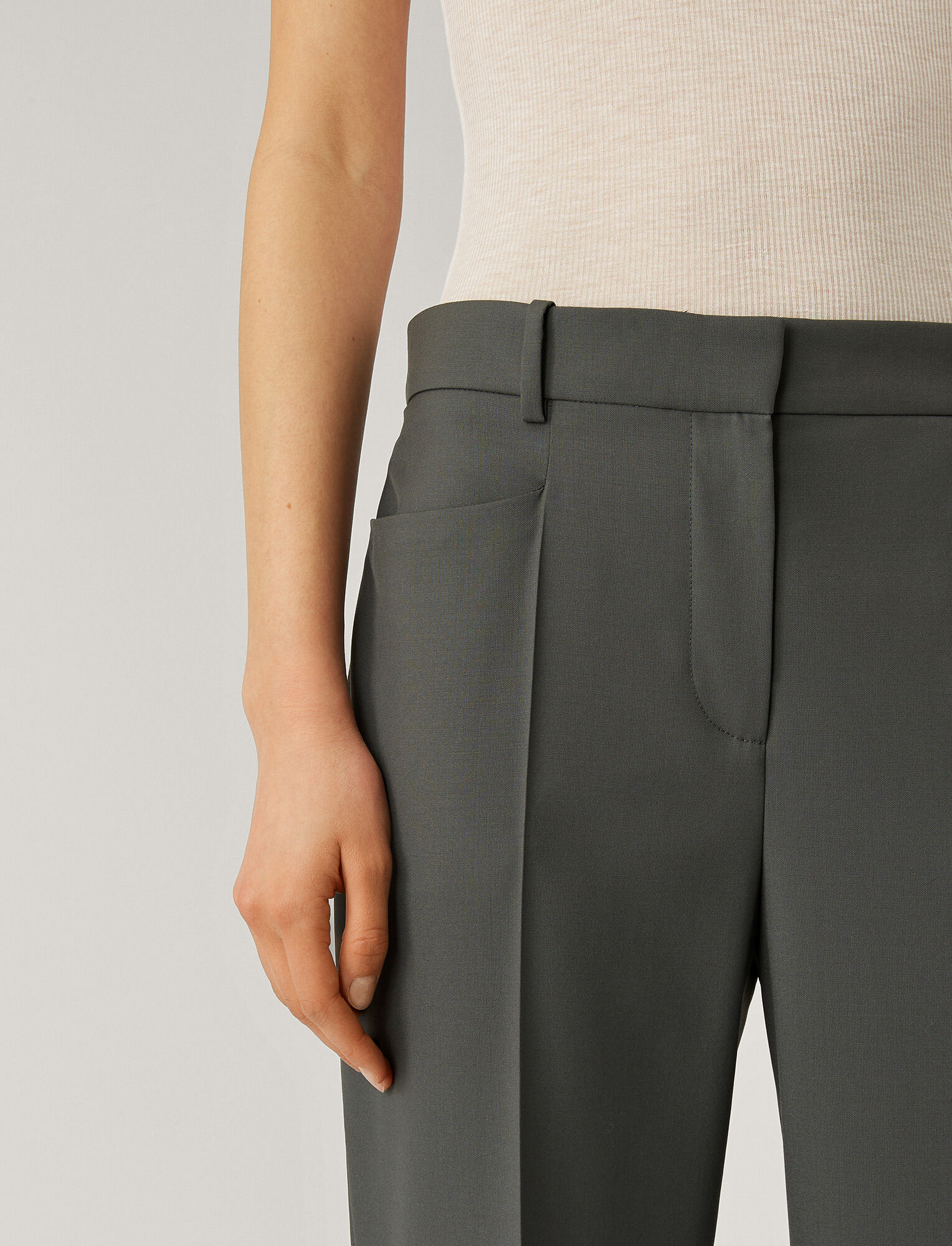 Joseph, Sloe Toile de Laine Trousers, in SLATE GREY