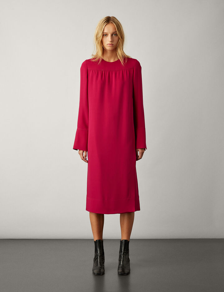 Joseph, Arlan Silk Crepe Dress, in MAGENTA