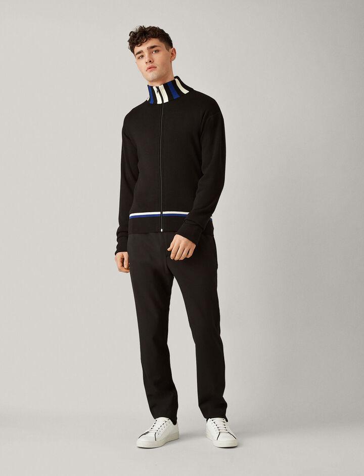 Joseph, Zip Up Cardigan Sports Milano Knit, in BLACK