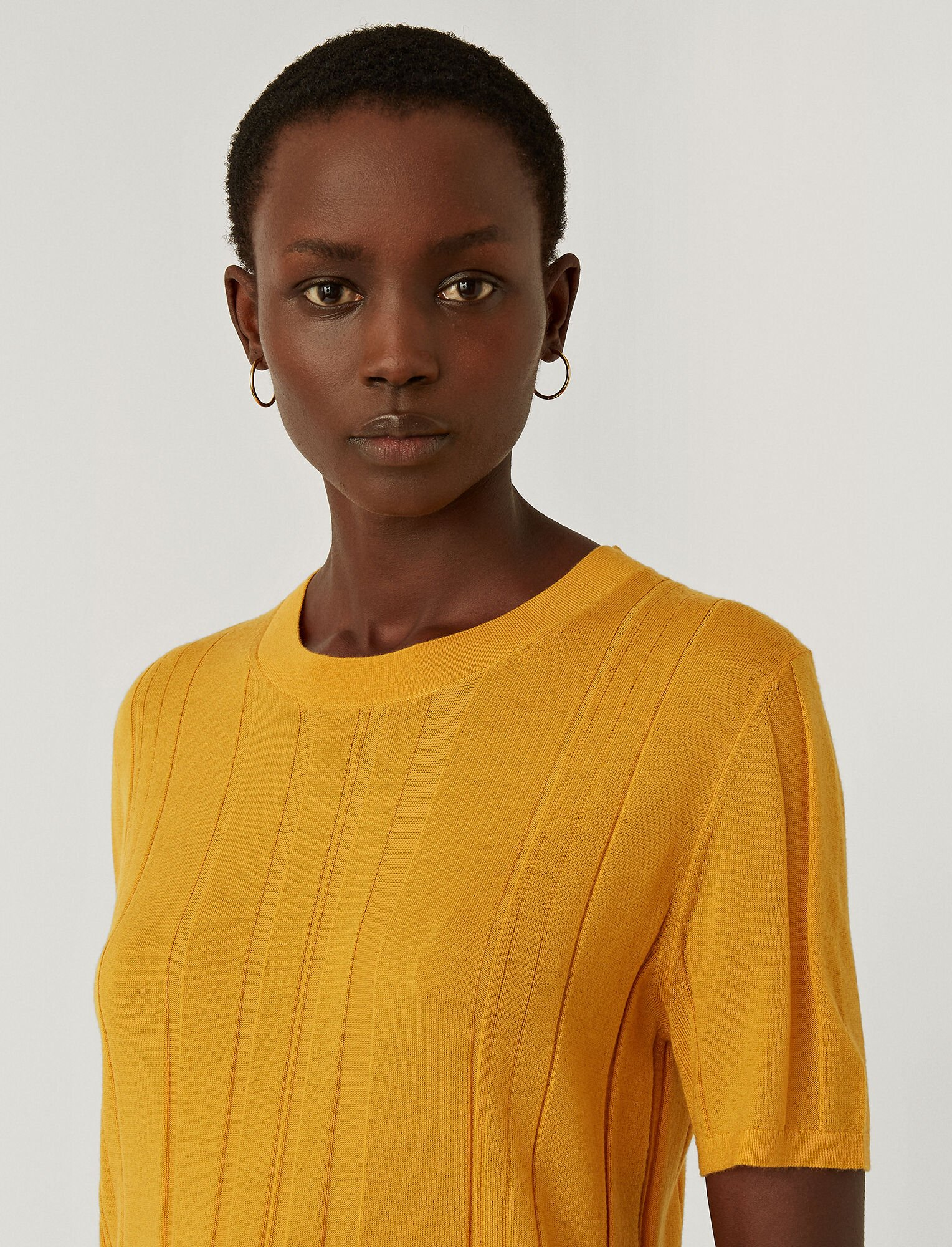 Joseph, Fine Merinos Short Sleeved Top, in SAFFRON