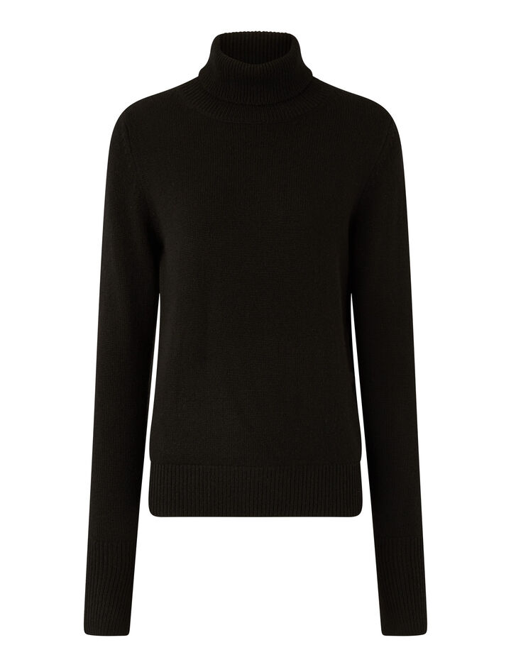 Joseph, Pure Cashmere High Neck Jumper, in BLACK