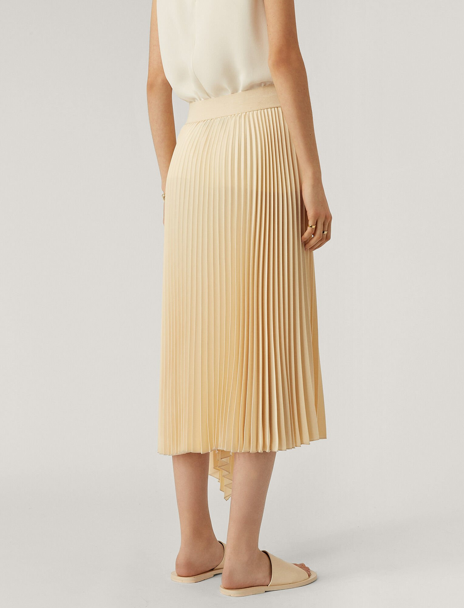 Joseph, Sabin Knit Weave Plissé Skirt, in Ivory