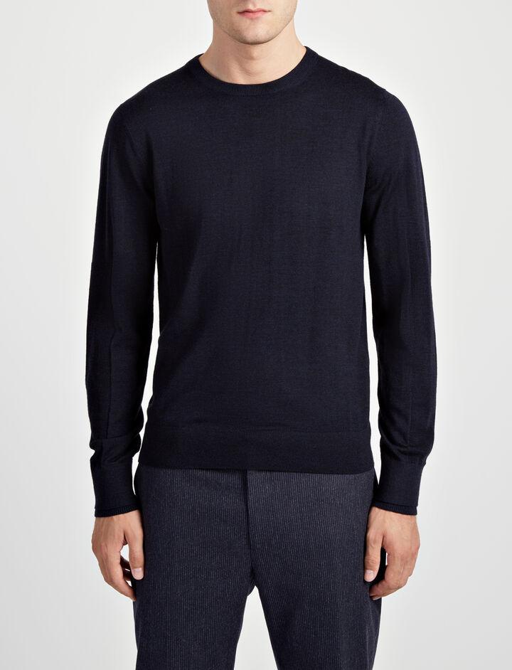 Joseph, Merinos + Rib Patch Sweater, in NAVY