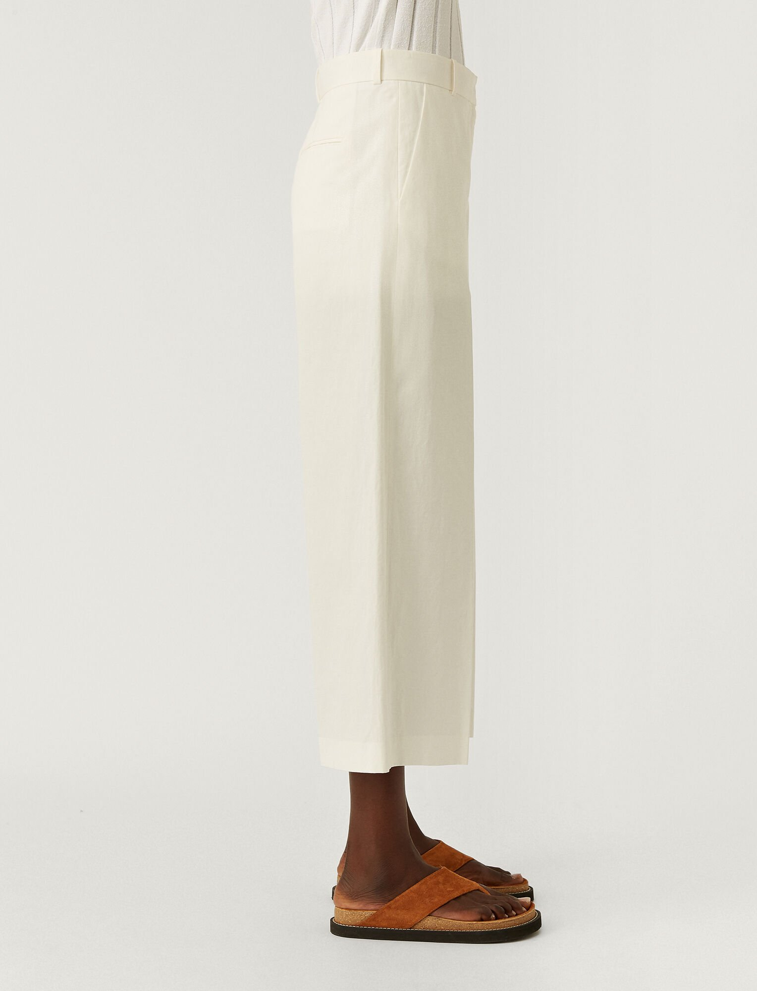 Joseph, Cotton Linen Talan Trousers, in OFF WHITE