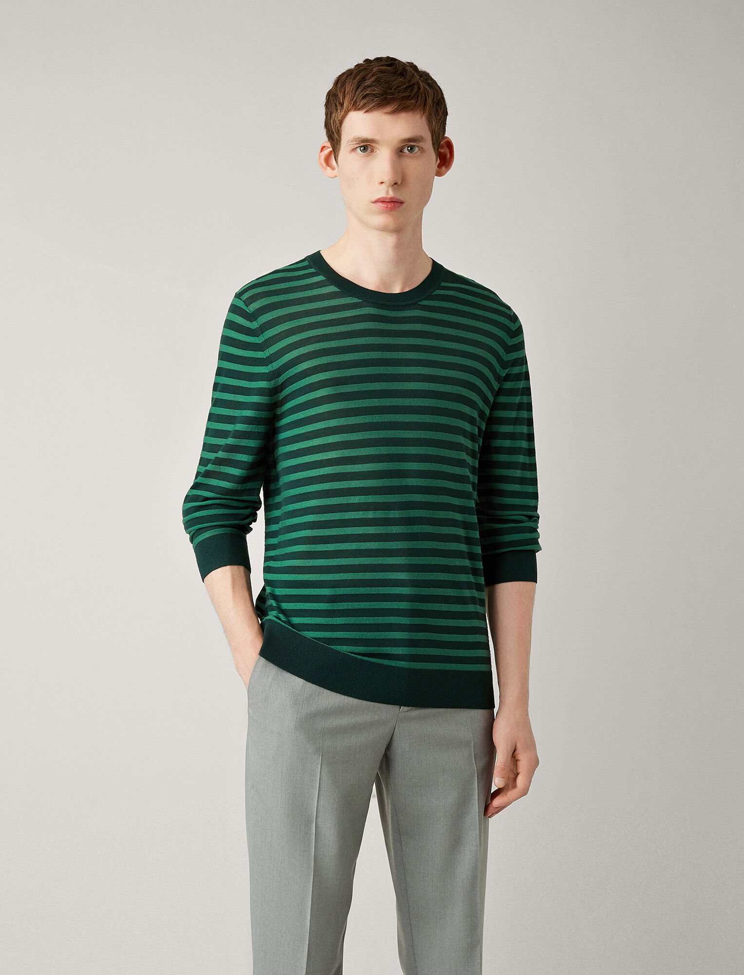 Joseph, Light Stripe Merinos Knit, in FOREST