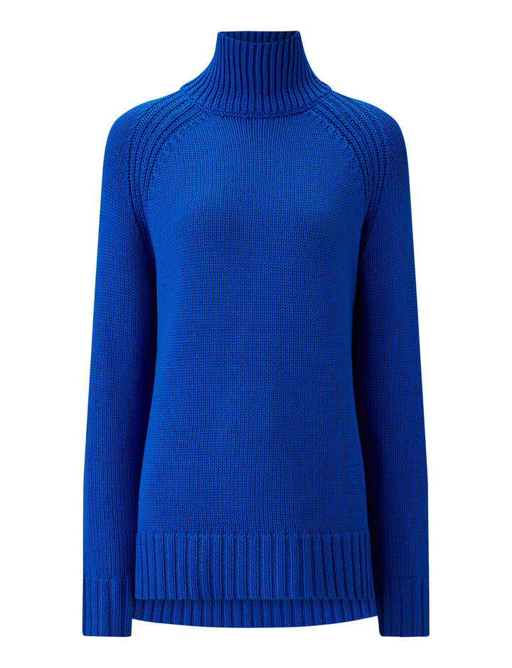 Joseph, High Neck Sloppy Joe Knit, in PLASTIC BLUE