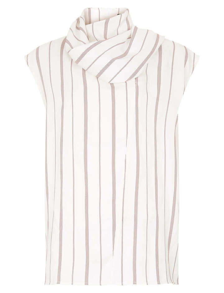 Joseph, Birley Top Rayon Stripe Blouse, in RUBY