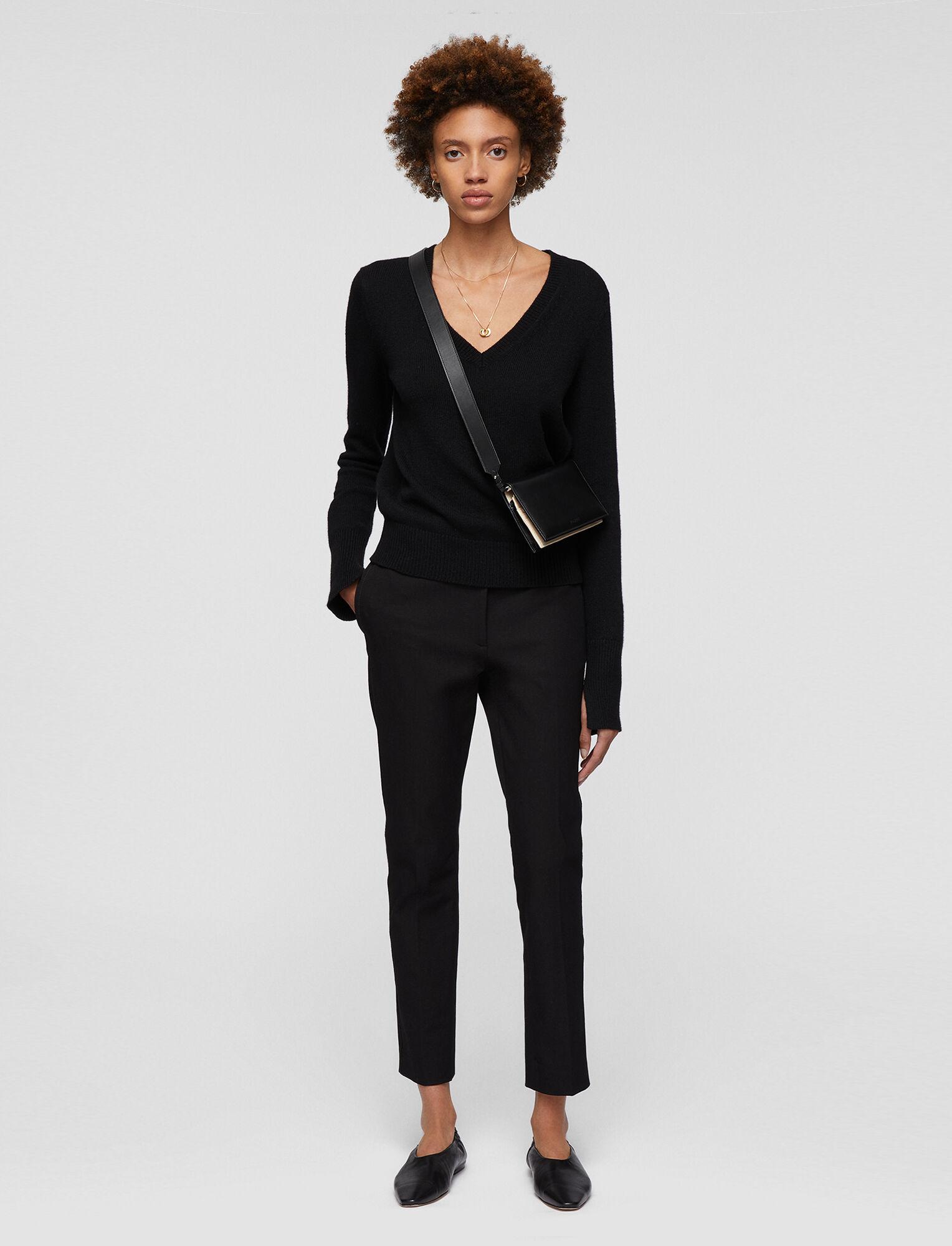Joseph, Zoom Gabardine Stretch Trousers, in BLACK