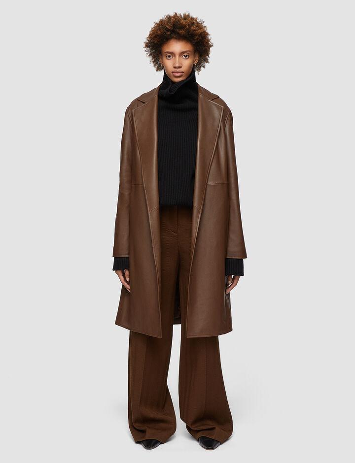 Joseph, Nappa Leather Cenda Long Coat, in PINECONE