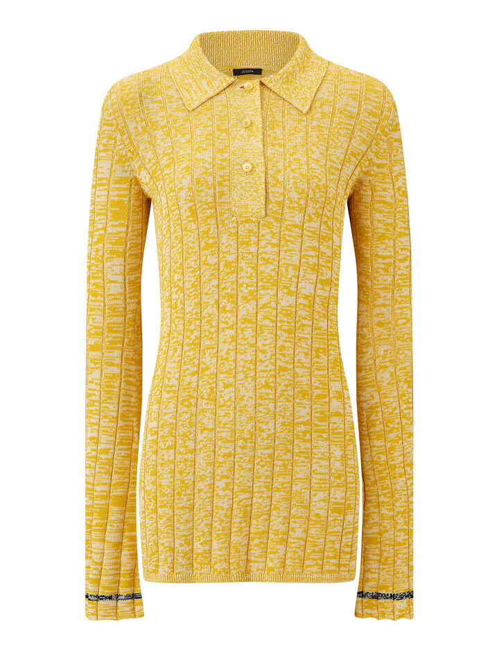 Joseph, Polo-Cotton Viscose Rib, in YELLOW