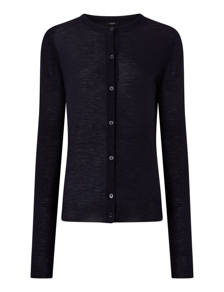 Joseph, Cashair Round Neck Cardigan, in NAVY