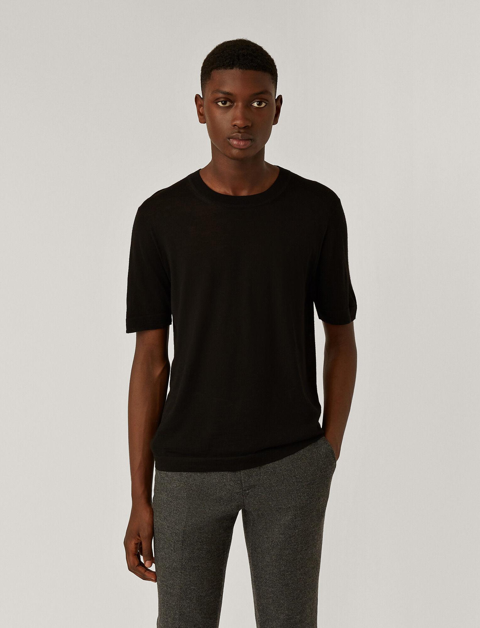 Joseph, Light Merinos Knit Tee, in BLACK