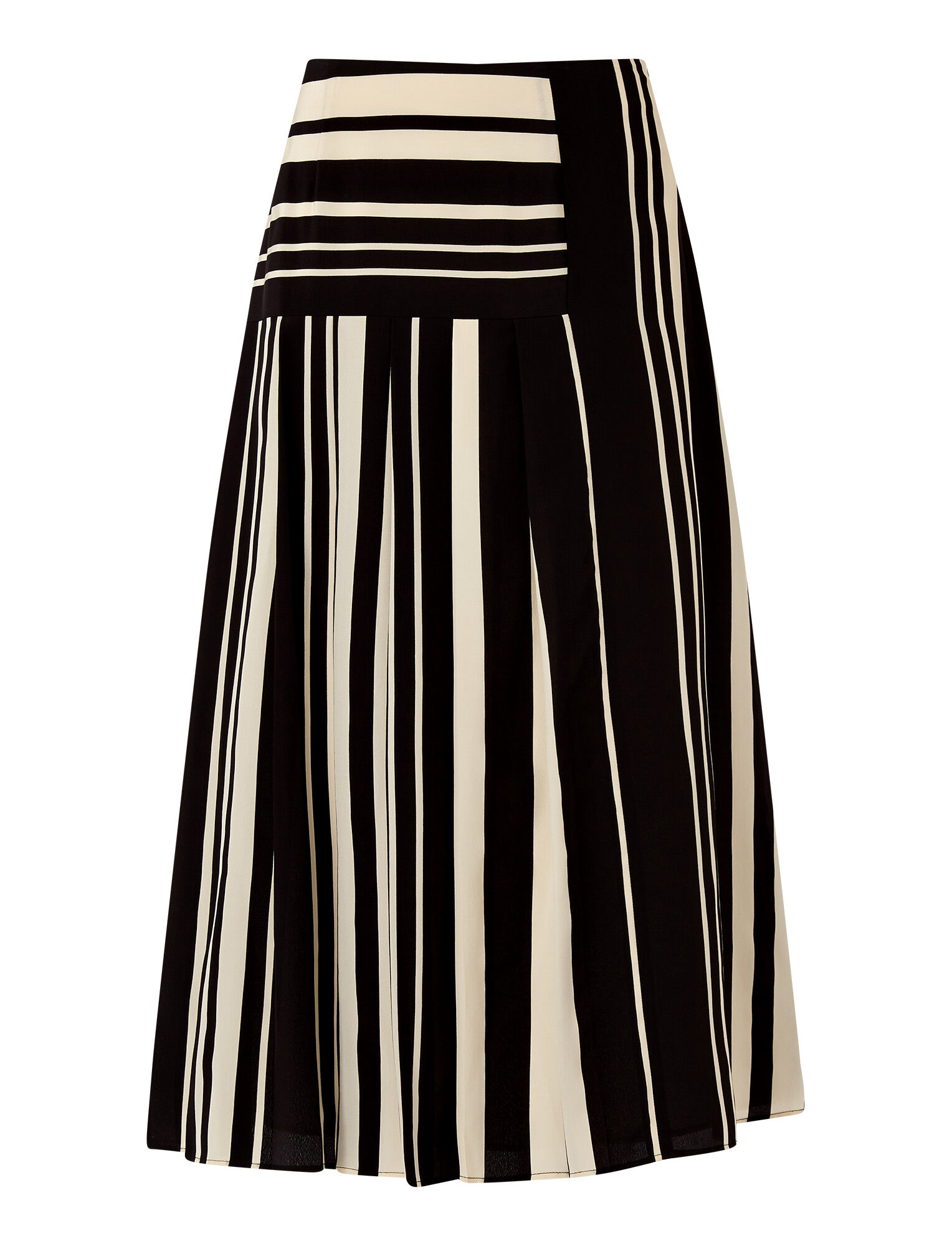 Joseph, Silk Stripes Swanson Skirt, in GREY/BLACK