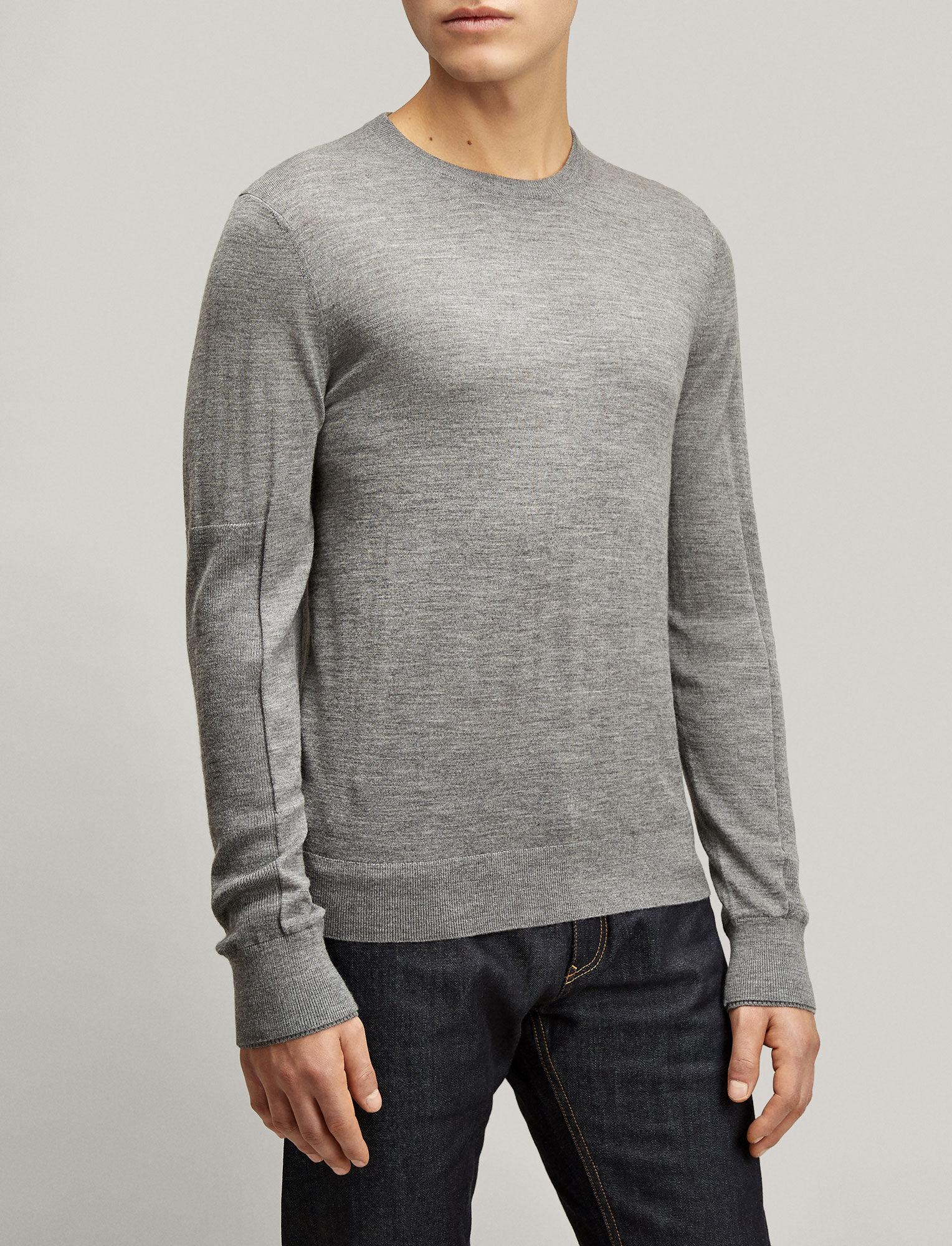 Joseph, Merinos + Rib Patch Sweater, in GRAPHITE