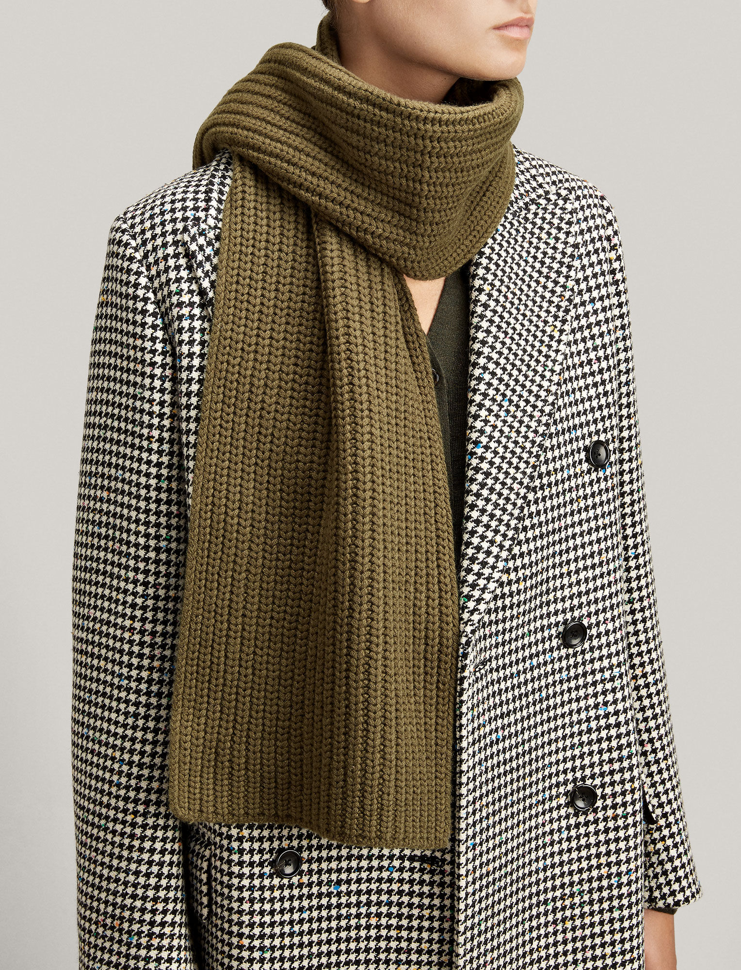 Joseph, Soft Wool Scarf, in MILITARY