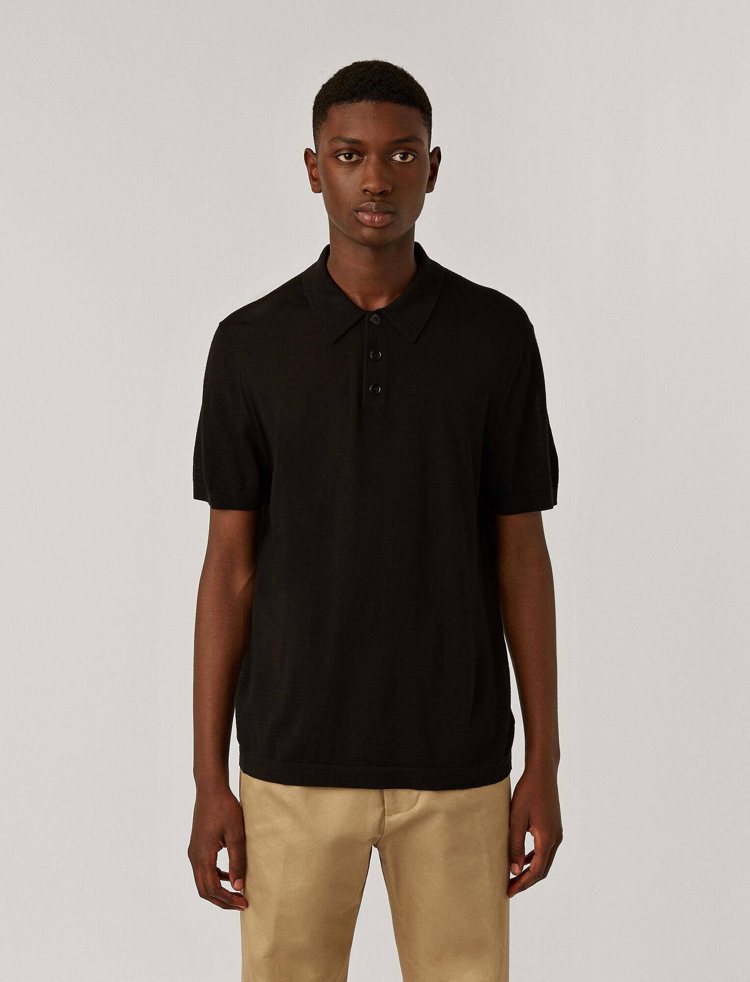 Joseph, Polo Light Merinos Knit, in BLACK