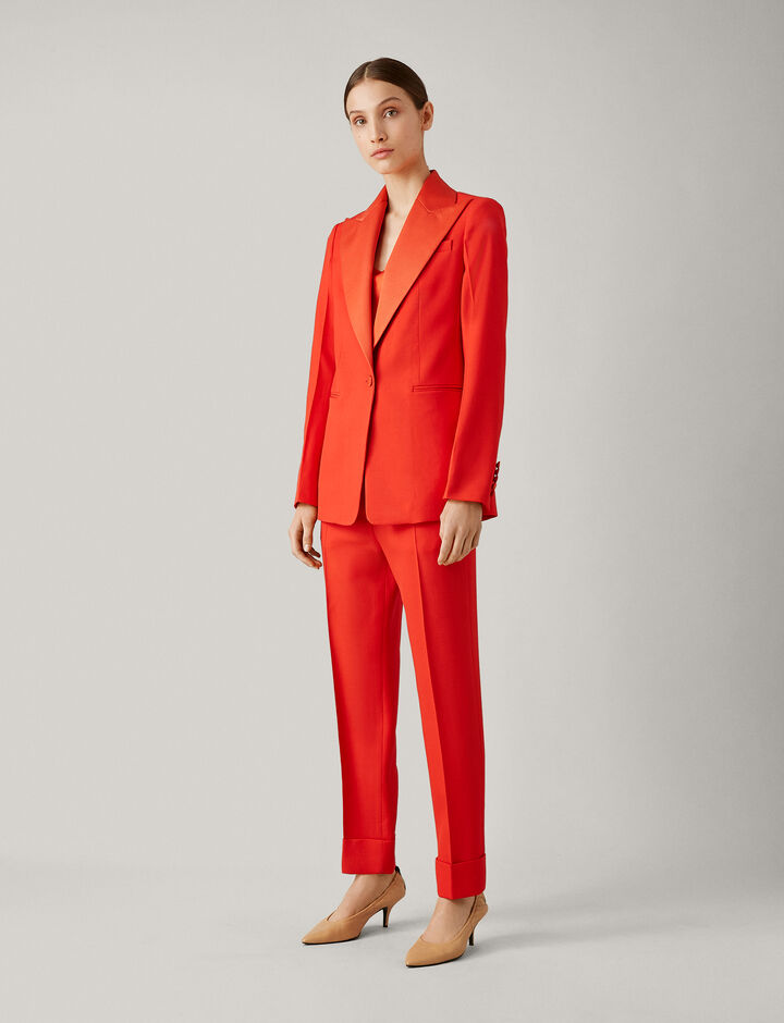 Joseph, New Steed Grain De Poudre Jacket, in TOMATO