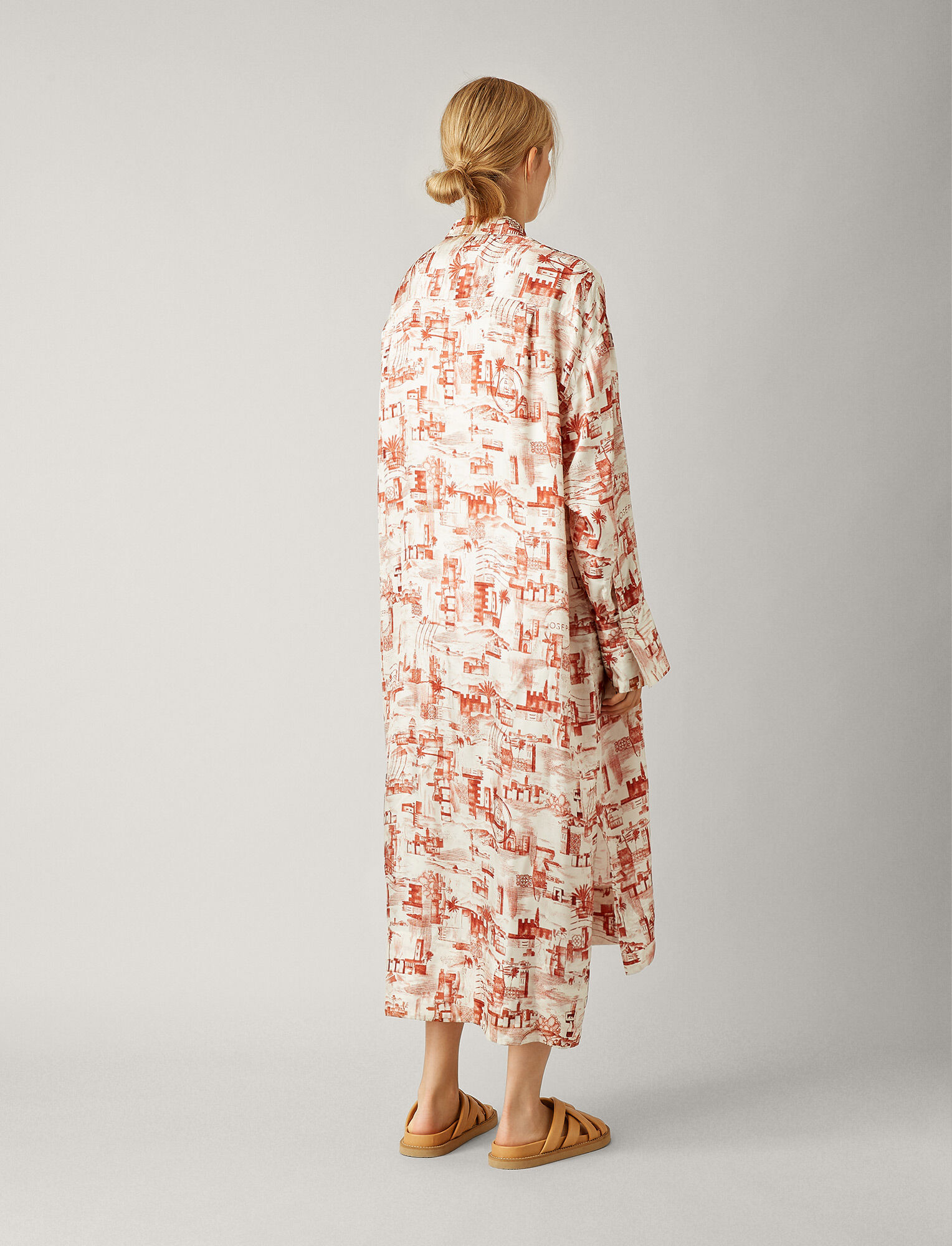 Joseph, Gaya Small Stamp Print Dress, in RUST