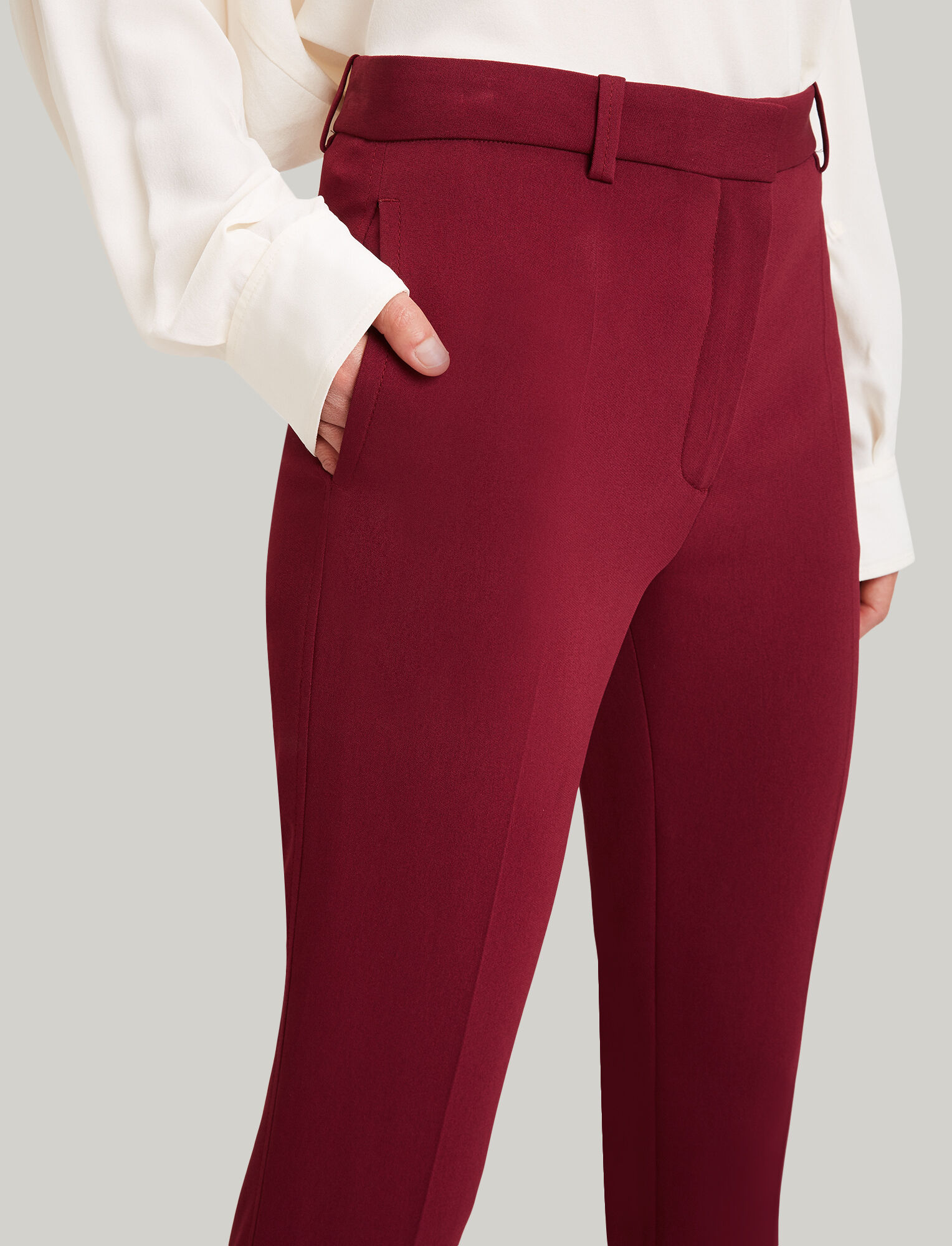 Joseph, Zoom Viscose Cady Trousers, in RUBY