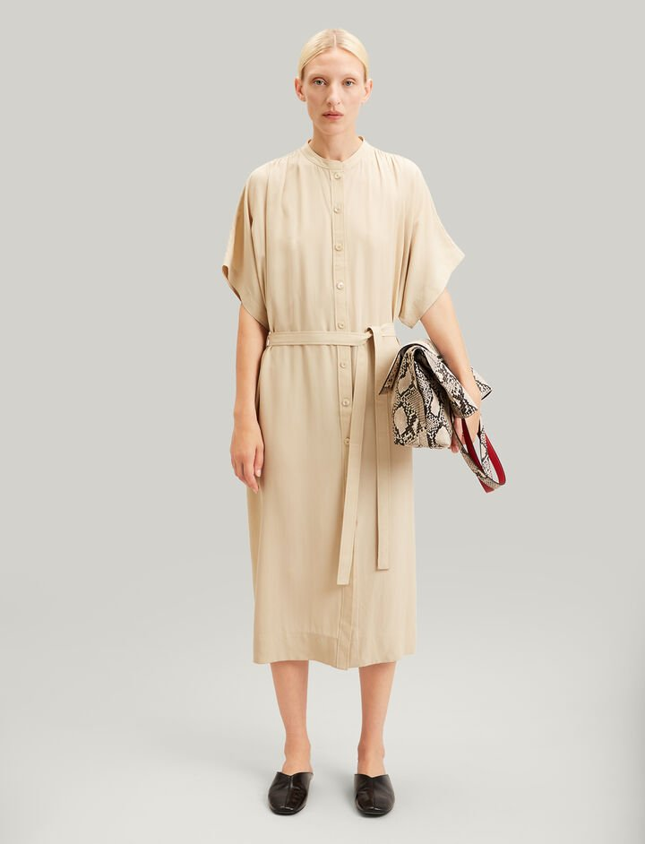 Joseph, Jasper Silk Toile Dress, in STONE