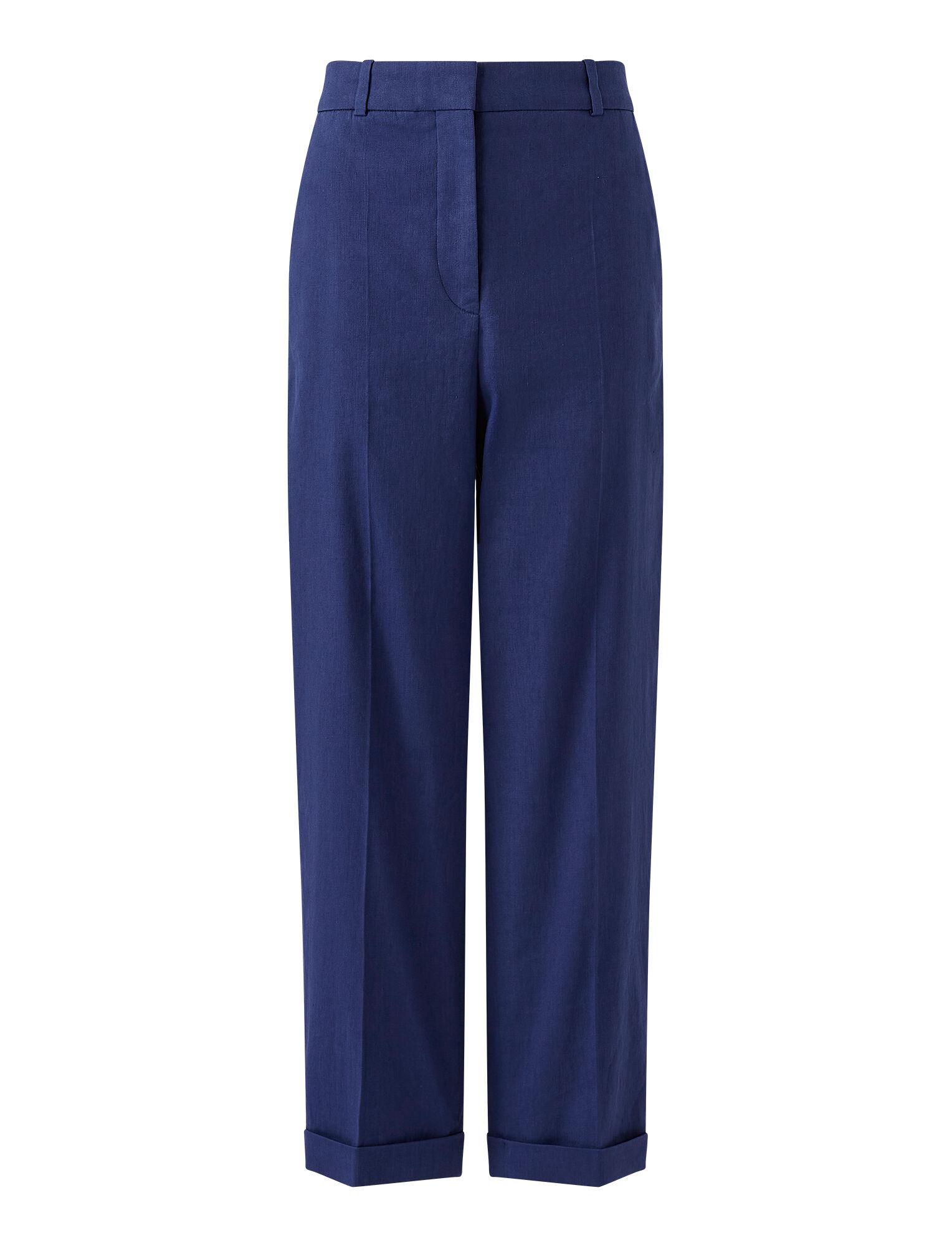 Joseph, Stretch Linen Cotton Trina Trousers, in COBALT BLUE