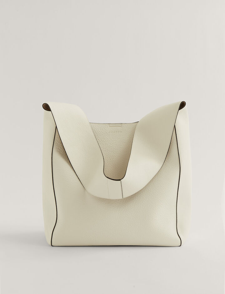 Joseph, Slouch Xl Grain Leather Shoulder Bag, in Off White