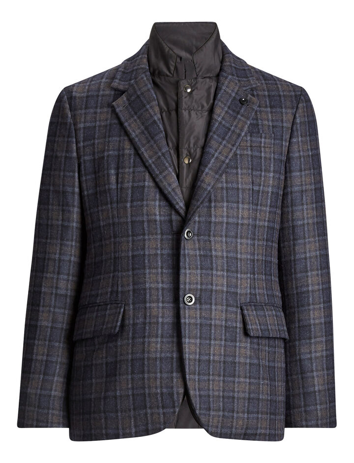 Joseph, Chalk Window Check Coat, in NAVY