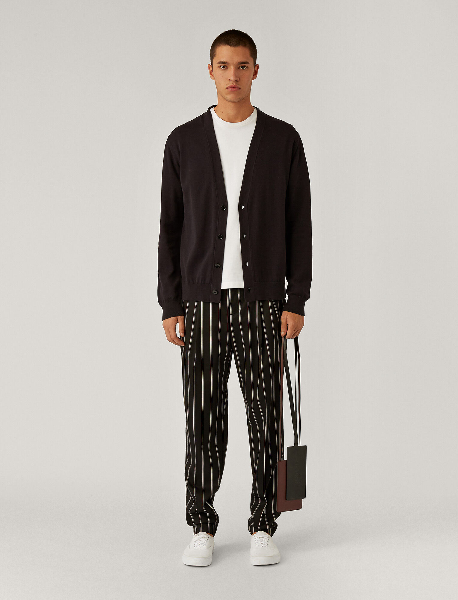Joseph, V Neck Stripe Block Cardigan, in Black