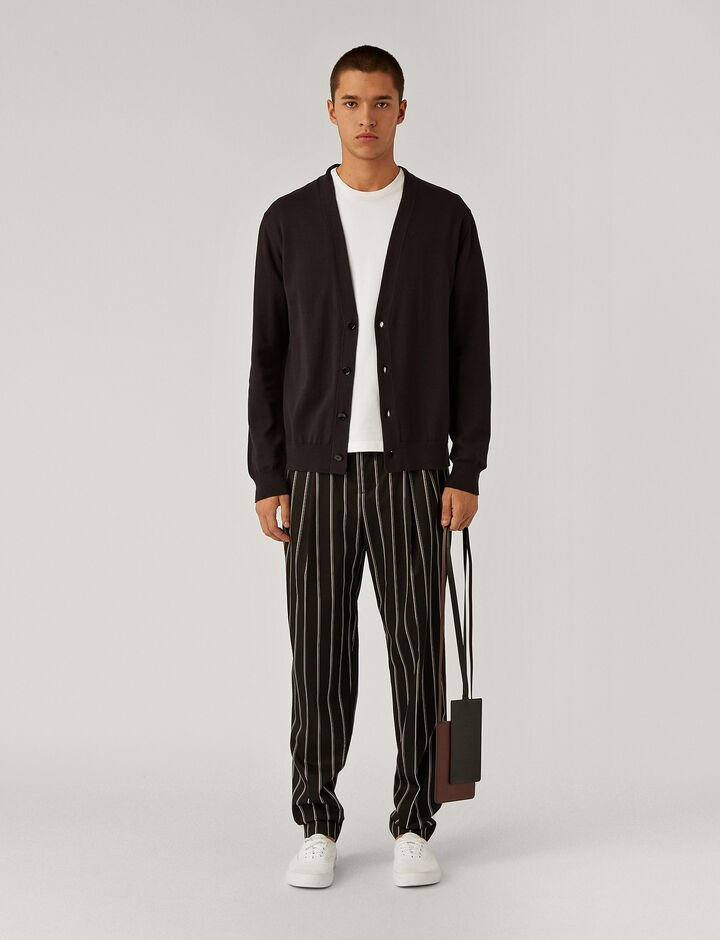 Joseph, V Neck Stripe Block Cardigan Knitwear, in Black